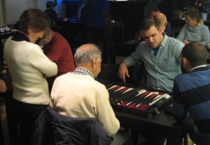 A backgammon match at the December 2015 event of the Backgammon Club Leuven, member of the Belgium Backgammon Federation