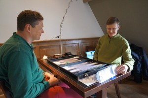 Maurits (left) and Zsolt (right) at 1st Brugge Backgammon Day (2015)