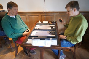 Maurits (left) and Zsolt (right) on the 1st Brugge Backgammon Day.
